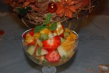 Fruit salad with mint green
