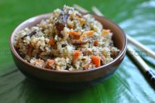 Amaranth and quinoa with vegetables and shiitake mushrooms